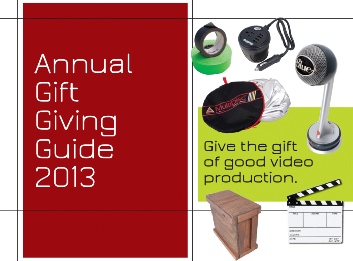 Collection of products for gift giving ideas for the videographer