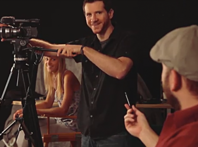 Photo of a Director talking to his Director of Photography