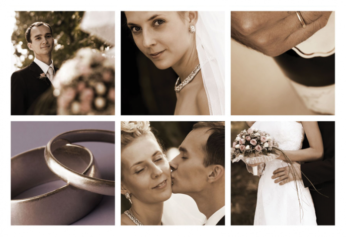 Collage of bridal photos