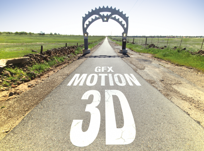 """Vanishing point type of shot of a bike path with the words """"bike lane"""" removed and replaced with same text style stating """"3D motion GFX"""""""