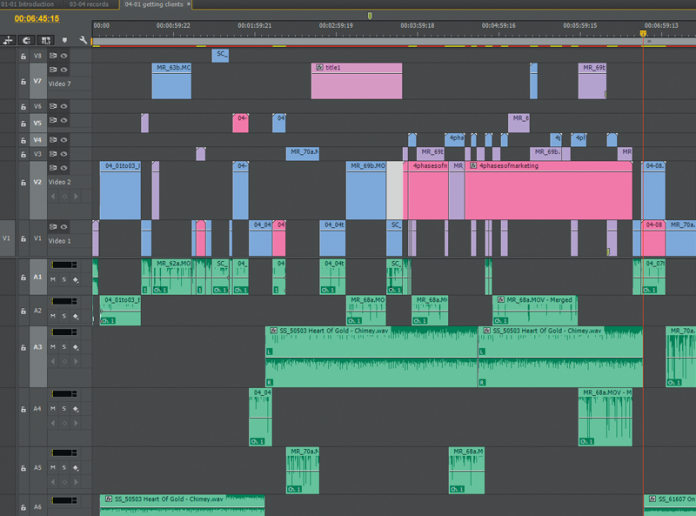 Screen grab of a messy timeline