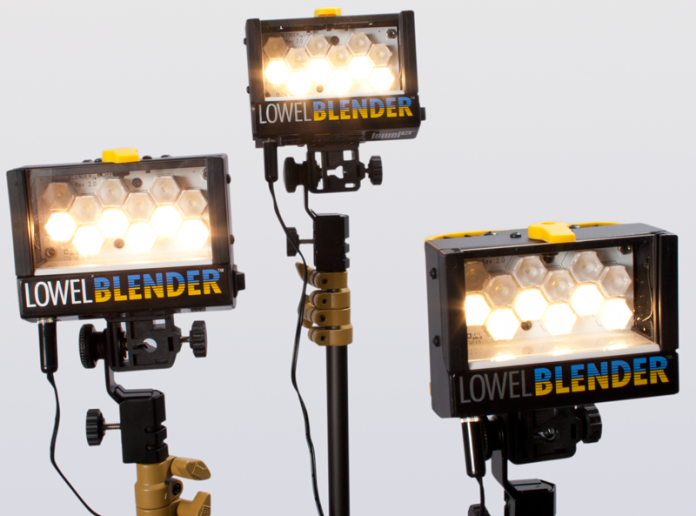 Shot of three videos lights from the Lowel Blender light kit