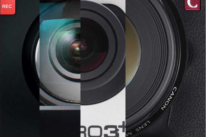 Collage of close ups of several different camera lenses.