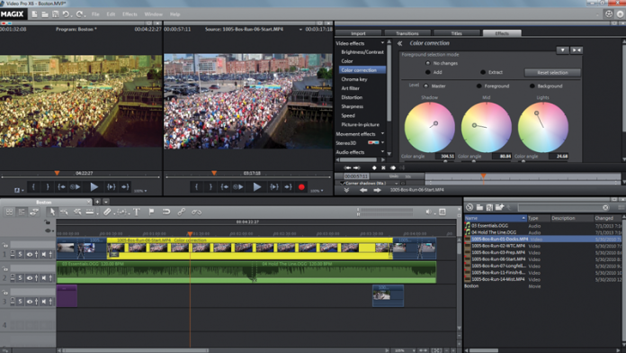 Image of MAGIX Video Pro timeline with color correction properties.