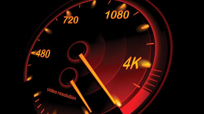 Speedometer of video resolutions SD to 4K