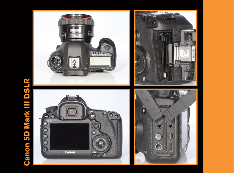 Close up photos of features on Canon 5D Mark III DSLR