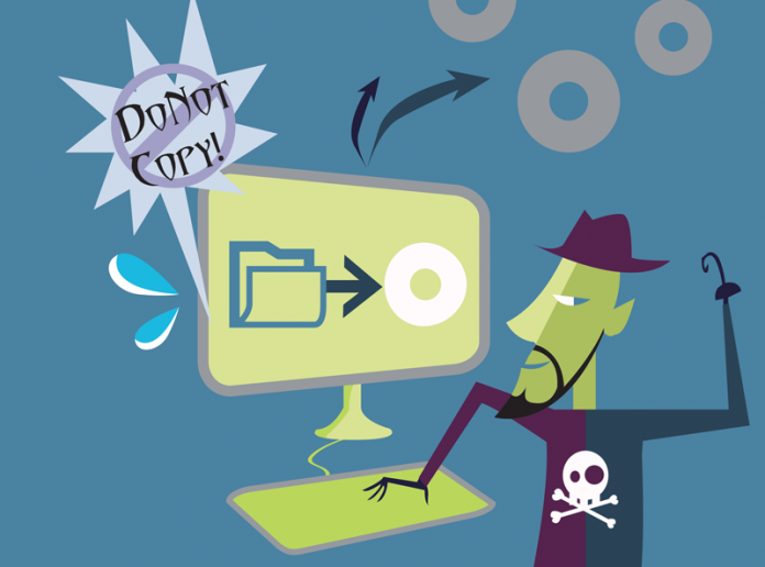 "Illustration of a pirate about to steal copyrighted material through a computer monitor. Caption reads ""Do Not Copy""."
