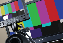 Field monitor and tv screen with color bars