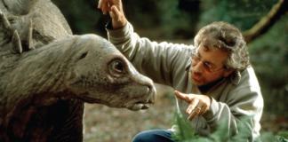 Steven Spielberg rehearsing with dinosaur