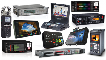 An assortment of audio and video recorders.