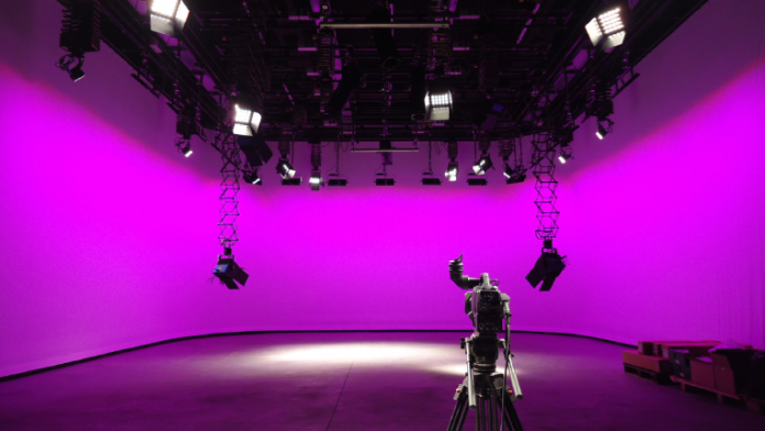 Stage with cyc background and camera