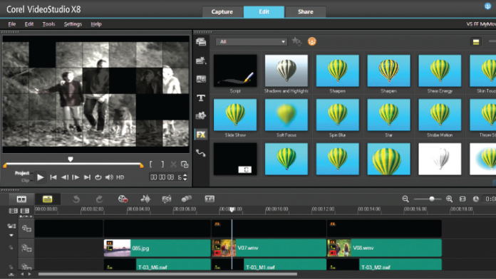 Corel VideoStudio X8 edit library effects