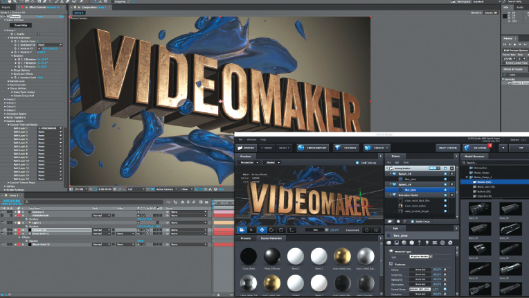 Video Copilot  Element 3D V2 interface showing acive camera and import window