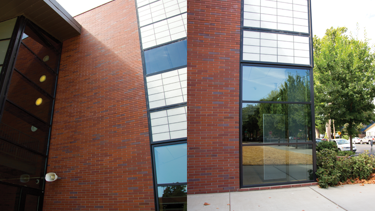 2 photos showing different angles of a building.