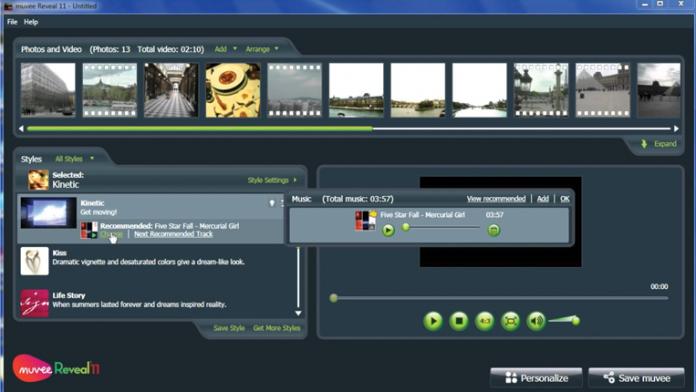 muvee Reveal 11 interface