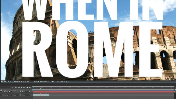 White text over image of Rome in After Effects