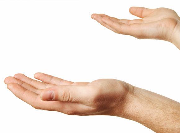 two hands held open to recieve