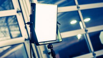 LED Panel Modern Videography Lighting System. Photo courtesy of Shutterstock - http://www.shutterstock.com/pic-274511759/stock-photo-led-panel-modern-videography-lighting-system-continuous-lighting.html?src=XD3XImHyJ54fe3RPoe7PKg-1-0