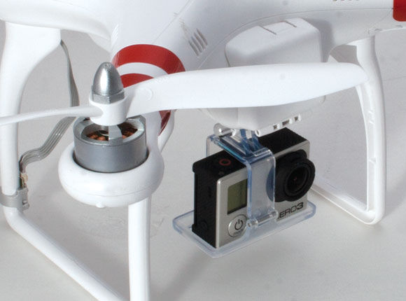 quadcopter with action camera underslung