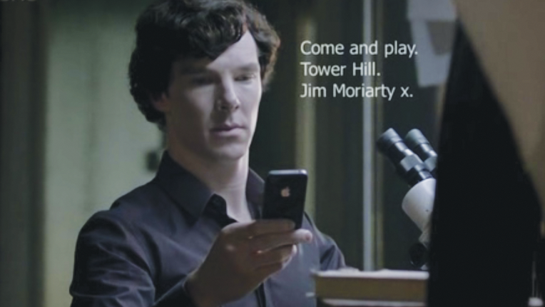 "Sherlock Holmes with subtitle ""Come and play. Tower Hill. Jim Moriarty x."""