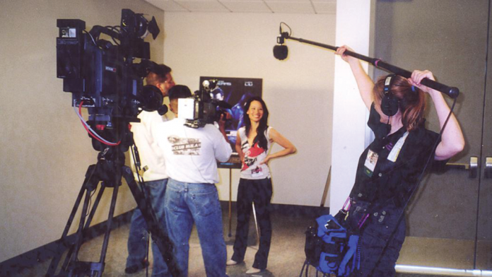 Patty Mooney boom pole operator on a shoot at the San Diego Comic Con with Lucy Liu