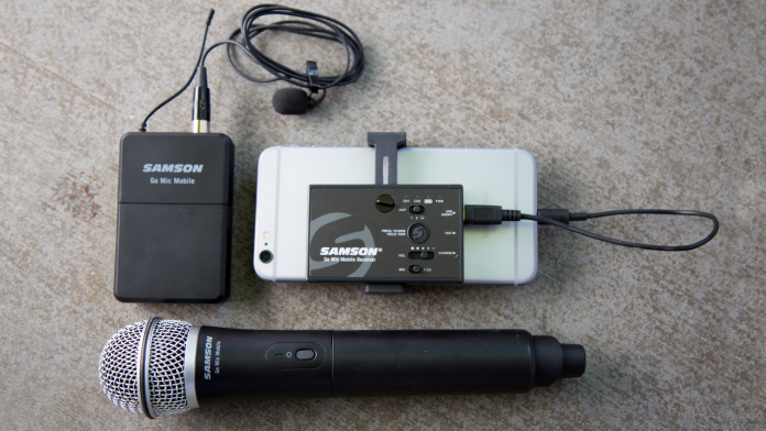 Samson Go Mic Mobile Receiver with LM8 Lavalier and Belt Pack Transmitter & Q8 Dynamic Handheld Mic/Transmitter