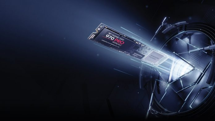 The 970 PRO shooting out of a futuristic machine