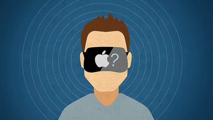 Illustration of man wearing a VR headset with the Apple logo and a question mark on it