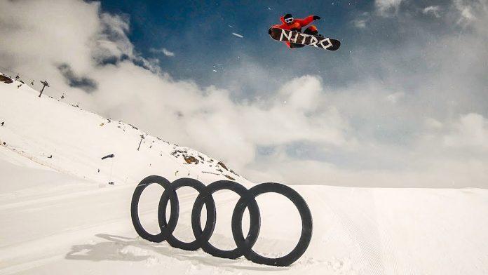Snowboarder snowboarding at Audi Nines 2018