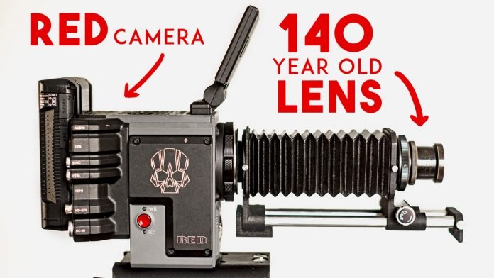 Image of a RED camera attached to a 140-year-old lens