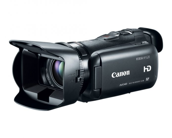 HF G20, a smooth camera with a large lens and hood