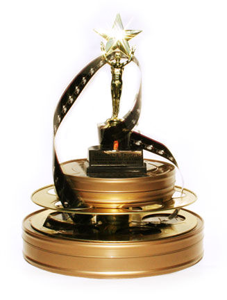 Image of film reels with a statuette award