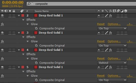 screenshot of the after effects timeline search bar