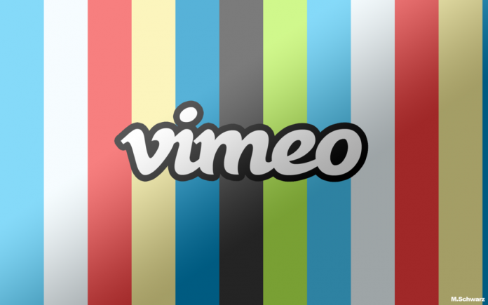 Vimeo logo on color bar background