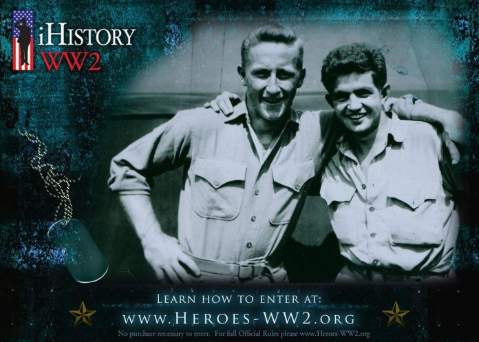Image of two World War 2 era men for the iHistory Contest announcement for teens