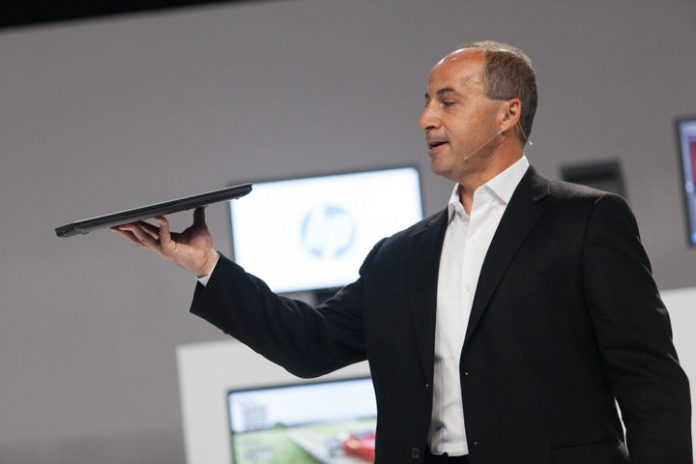 Jim Zafarana holds up the ZBook 14 Ultrabook