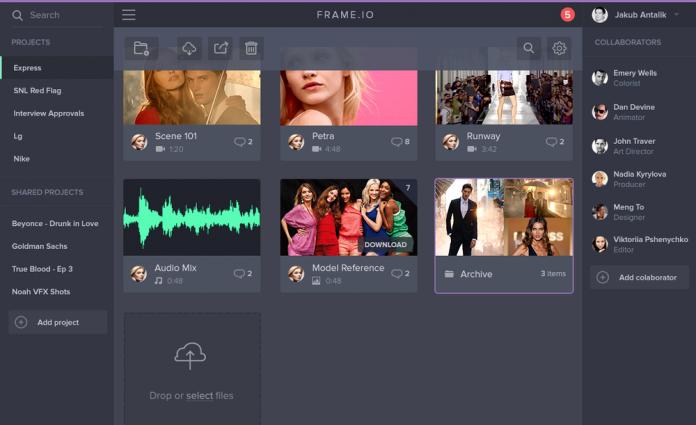 frame.io - pro video management platform -  main interface