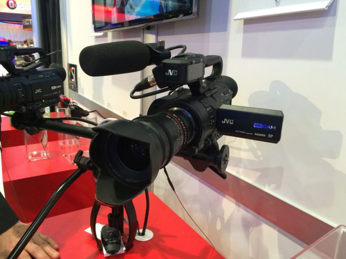 Interchangeable lens 4K camera with mic and LCD flipped out