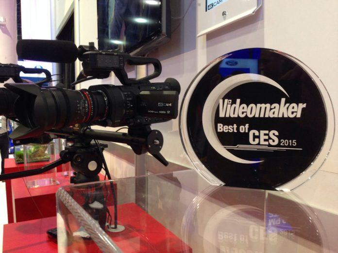 a camera and award on display