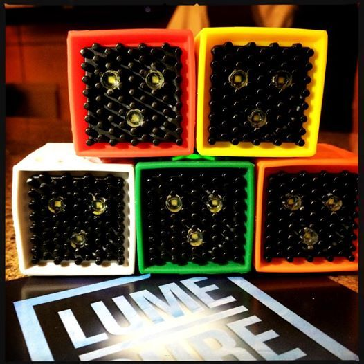 Five colored boxes with LED lights