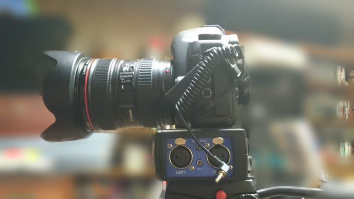 Tales of Shoot Horror! Here is the very Canon 5D Mark II and Beachtek adapter that I failed to hook up.