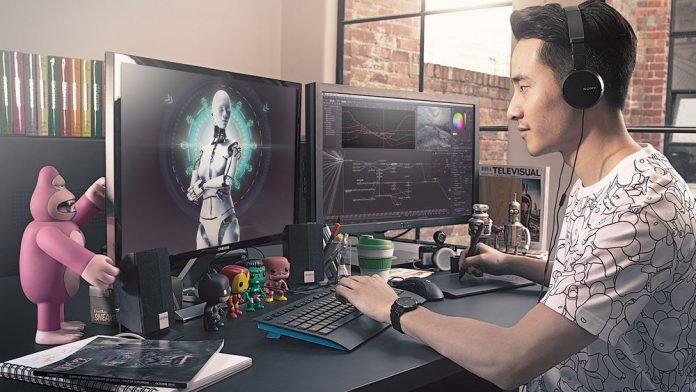 Blackmagic Design Fusion 8 Studio workstation and operator