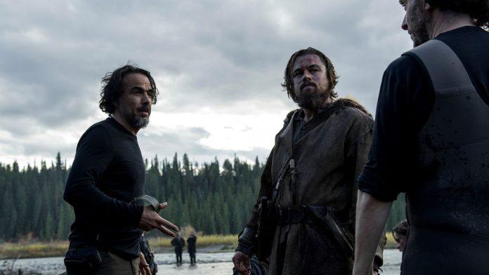The Revenant director Alejandro González Iñárritu, Leonardo DiCaprio and cinematographer Emmanuel Lubezki