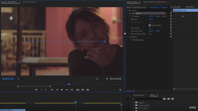 Editing interface showing the motion path of a virtual camera pan