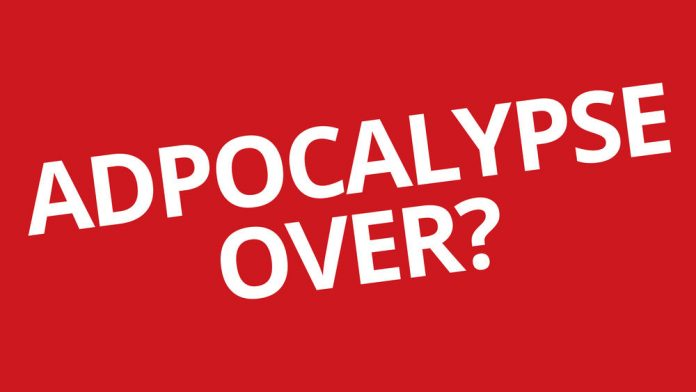 adpocalypse over? written over a red background