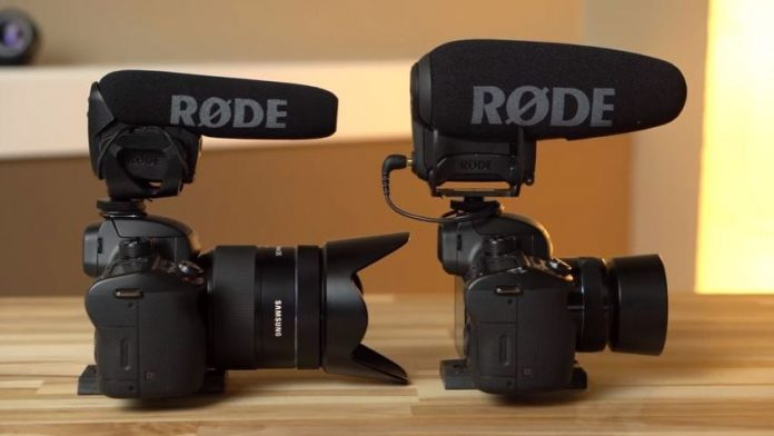 Image of the RODE VideoMic Pro+ and VideoMic Pro mounted onto cameras