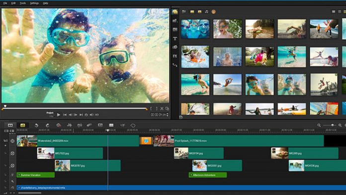 Image of a production being worked on in VideoStudio X10