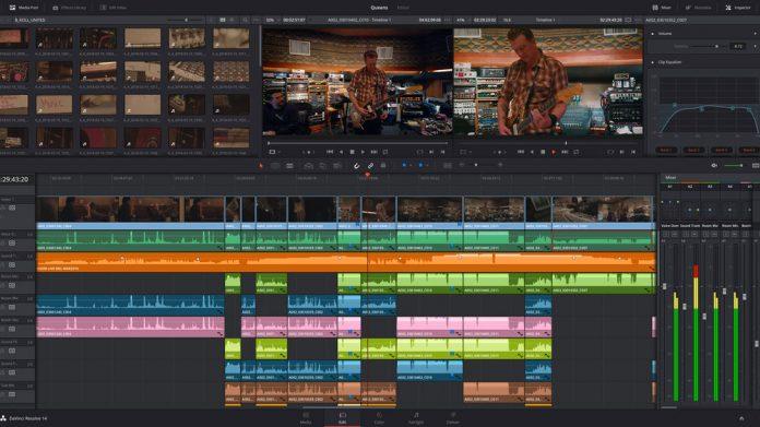 Image of Blackmagic Design's DaVinci Resolve 14's editing timeline