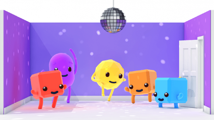 Illustration of cartoon characters dancing inside of a room
